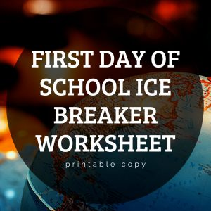 First Day of School Ice Breaker Worksheet - Get to Know Me