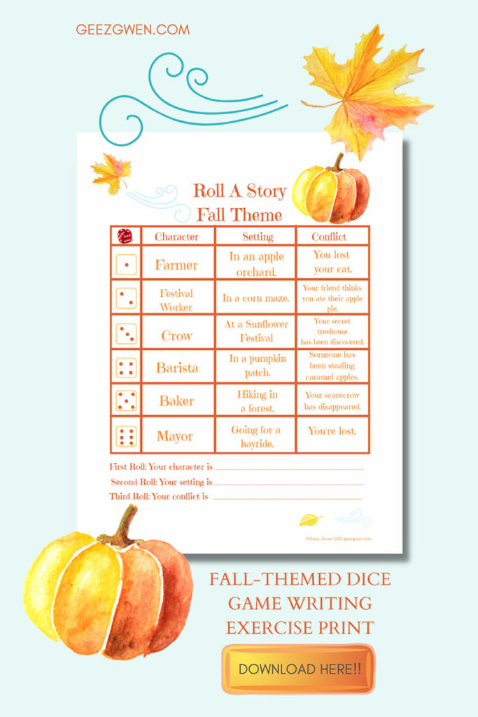 fALL WIRITING EXERCISE FOR KIDS
