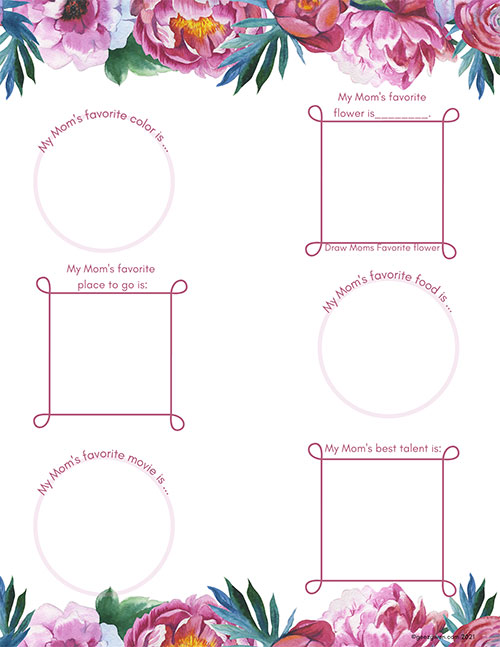 All About Mom's Favorites Worksheets