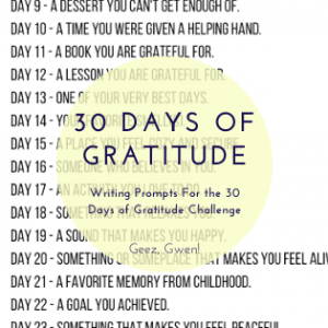 30 Days of Gratitude List of Writing Prompts