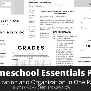 Homeschool Essential Printable Packet Inlcudes Schedule Grade Record Sheet, Lesson Plan Sheets, Book Reports and More