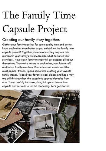Family Time Capsule Guided Workbook for Family Project