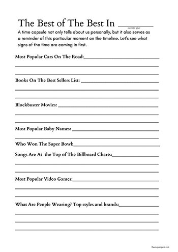 Family Time Capsule Current Events and Trends Worksheets for Time Capsule