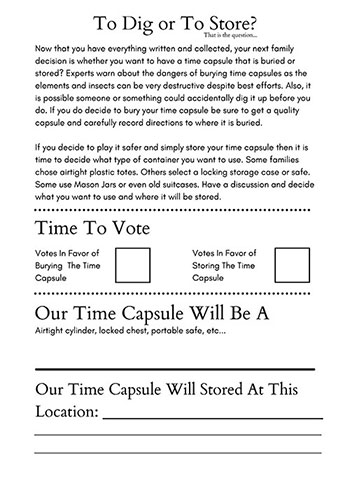 Making Final Decisions Family Time Capsule Project