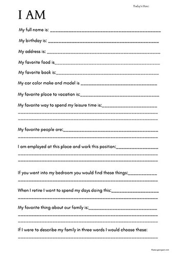 All About Me Time Capsule Worksheet for Adults