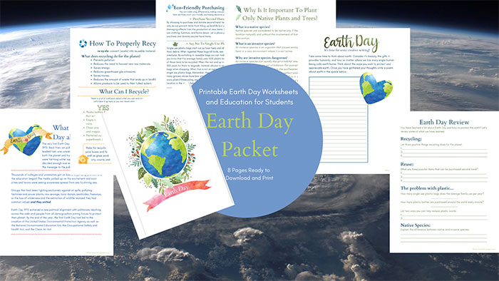 Classroom resource - Earth Day Packet for student with education and worksheets.