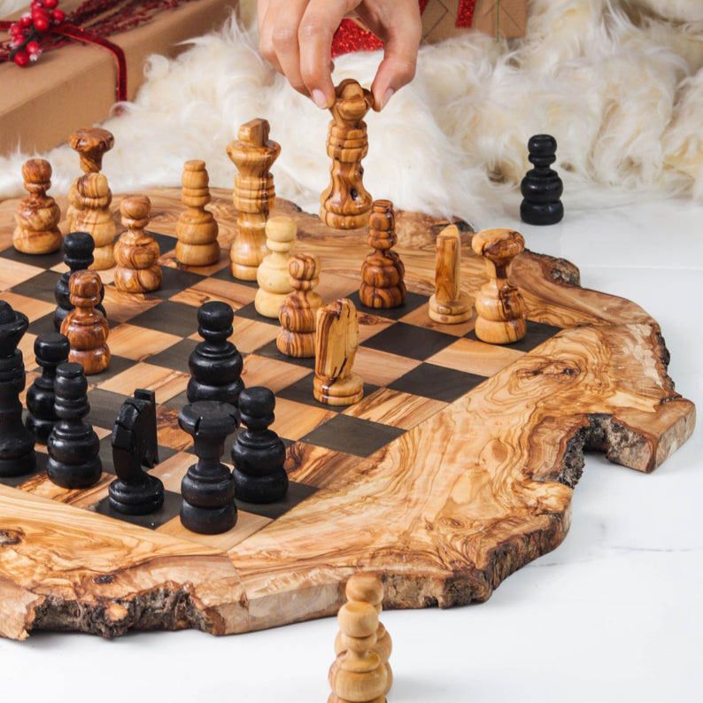 Olive Wood Chess Board Gift Ideas for Father's Day!