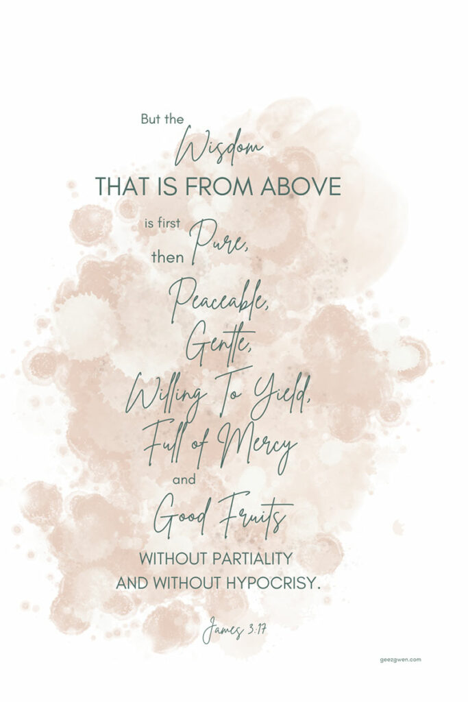 But the wisdom that is from above is first pure, then peaceable, gentle, willing to yield, full of mercy and good fruits, without partiality and without hypocrisy.  James 3:17 Bible Verse About Wisdom