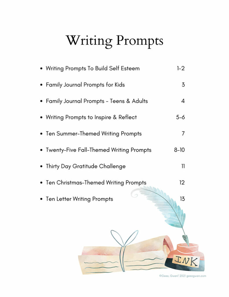 Writing Prompts Table of Contents