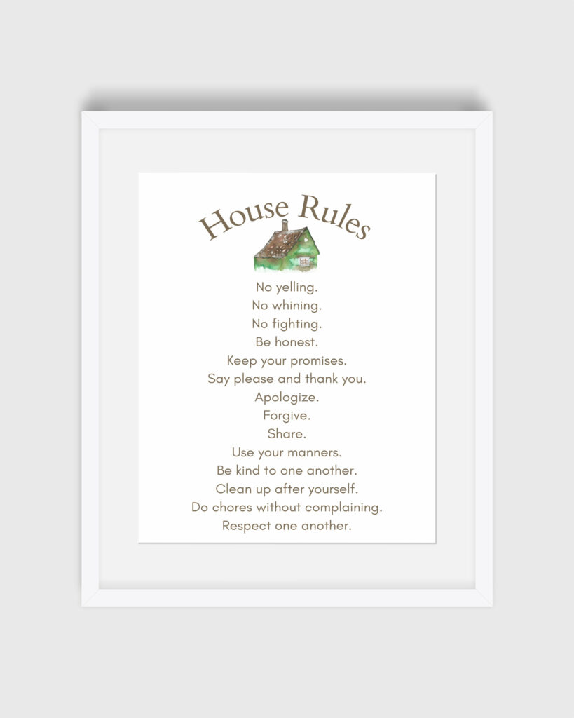 House Rules Print of house rules for families.