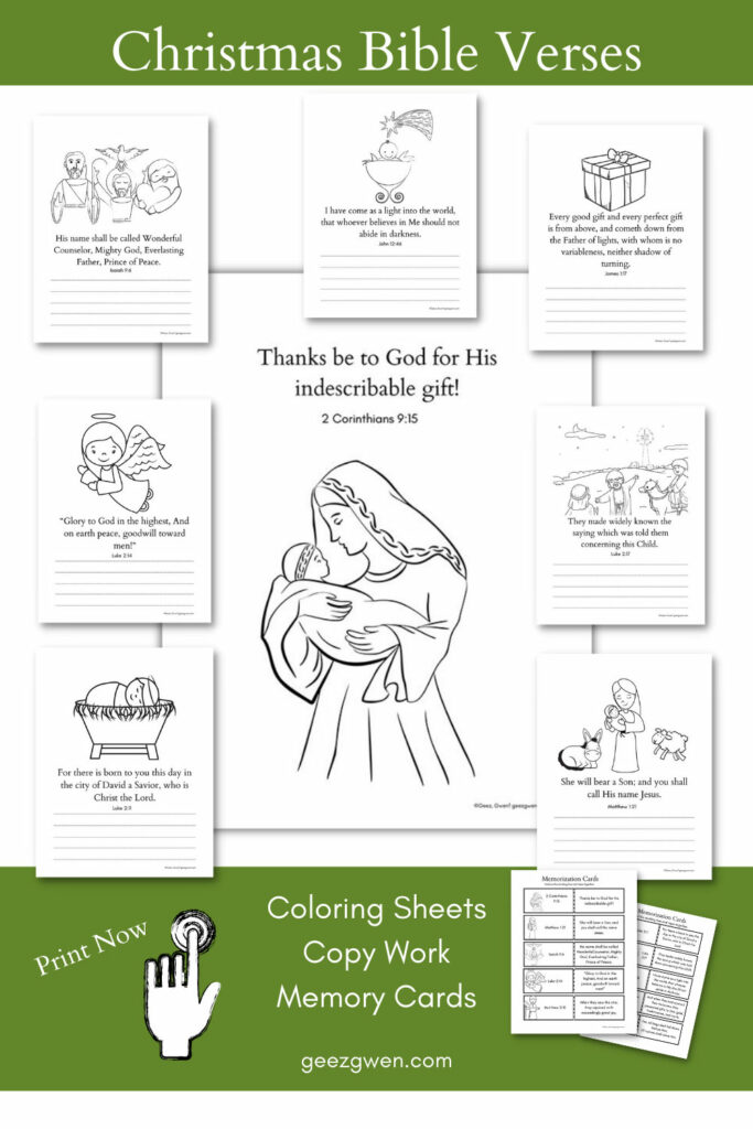 Christmas Bible Verses Coloring and Copy Work