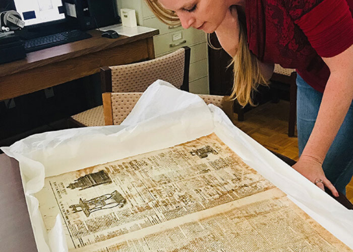 Checking out the first newspaper printed in East Tennessee.